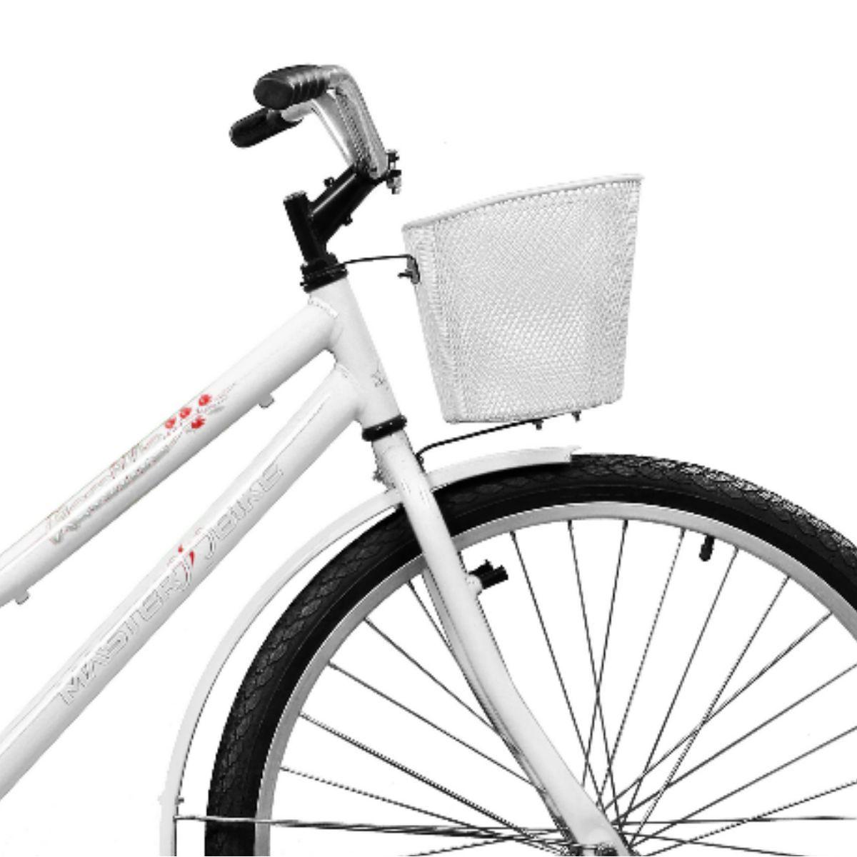 Bicicleta Master Bike Aro 26 Kamilla Contrapedal c/ Cesta Branco