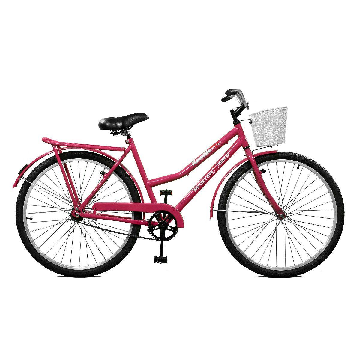 Bicicleta Master Bike Aro 26 Kamilla Contrapedal c/ Cesta Rosa