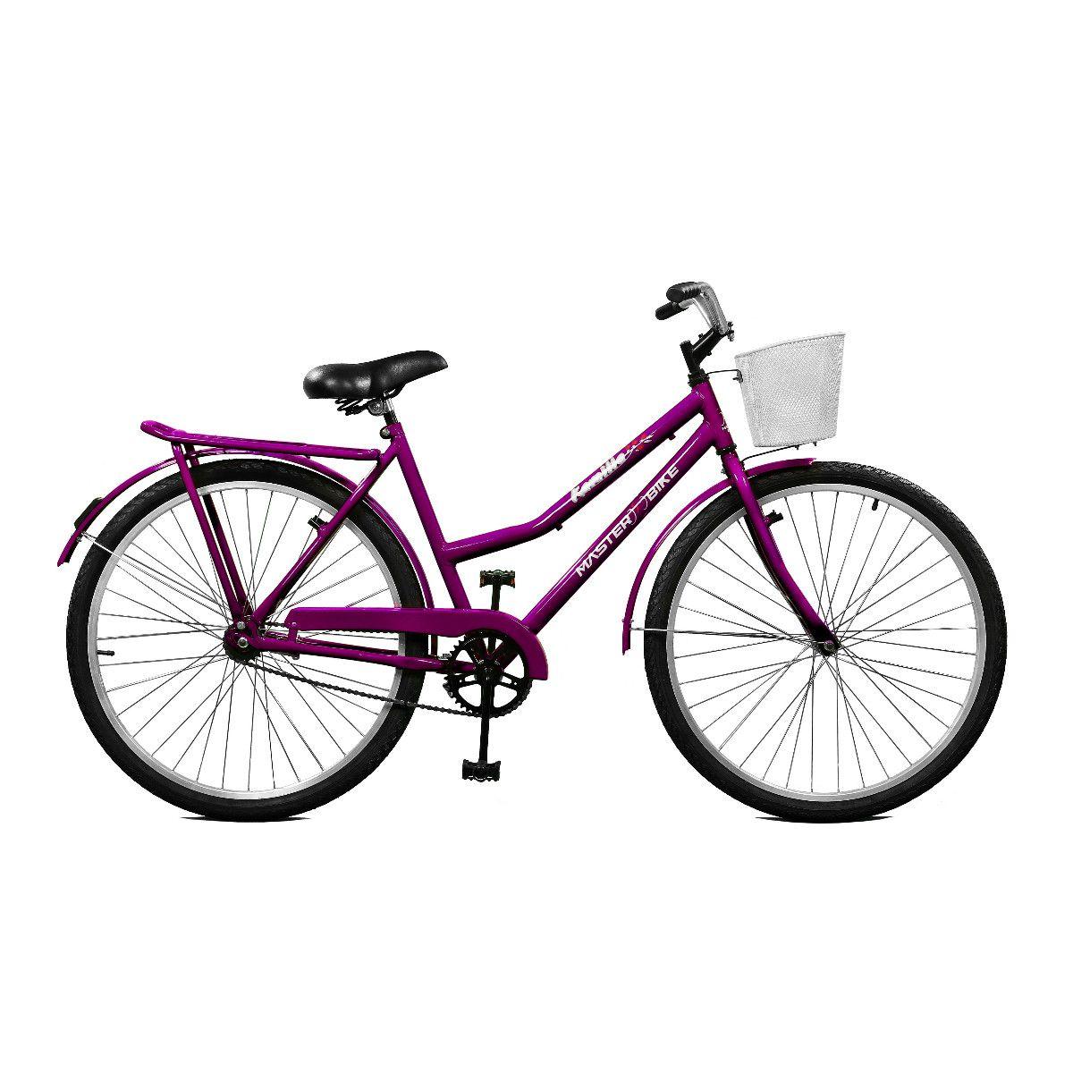 Bicicleta Master Bike Aro 26 Kamilla Contrapedal c/ Cesta Violeta