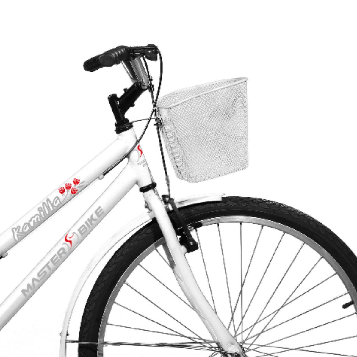 Bicicleta Master Bike Aro 26 Kamilla Freio V-Brake c/ Cesta Branco