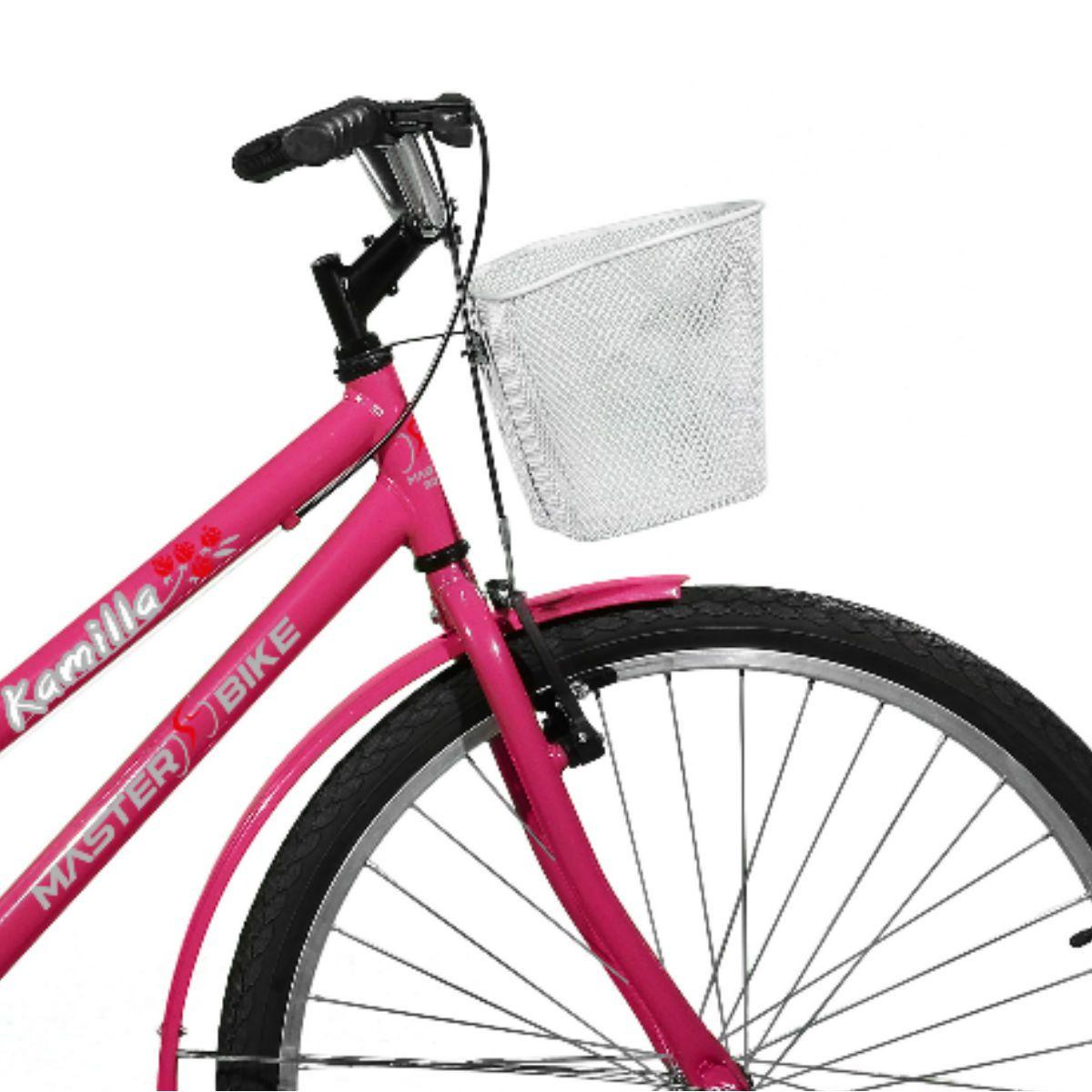 Bicicleta Master Bike Aro 26 Kamilla Freio V-Brake c/ Cesta Rosa