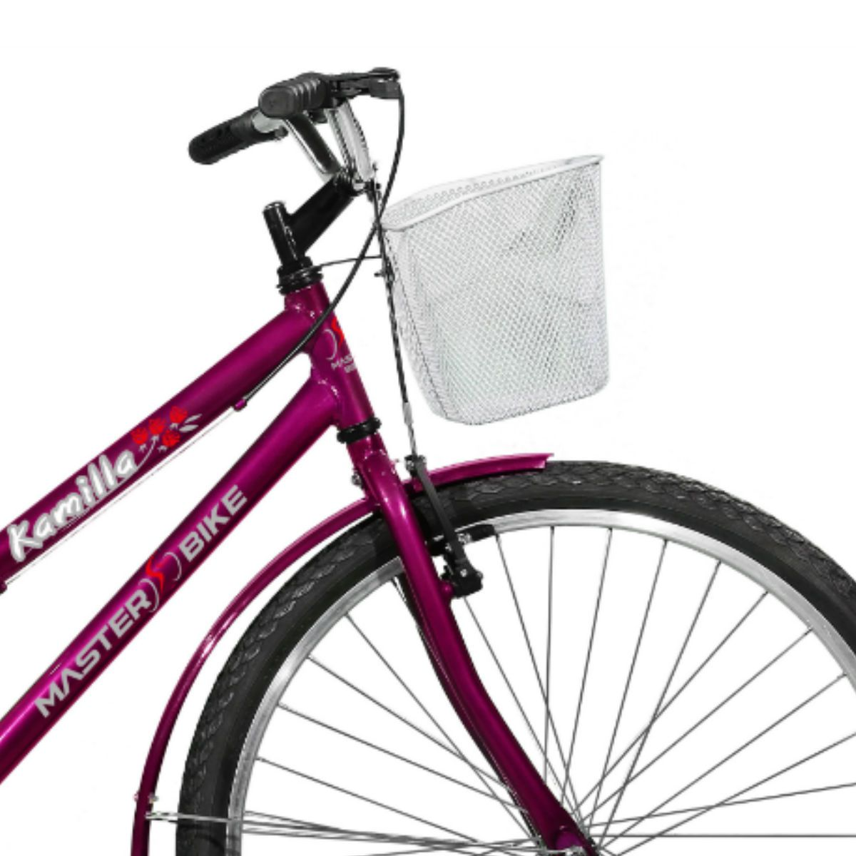 Bicicleta Master Bike Aro 26 Kamilla Freio V-Brake c/ Cesta Violeta