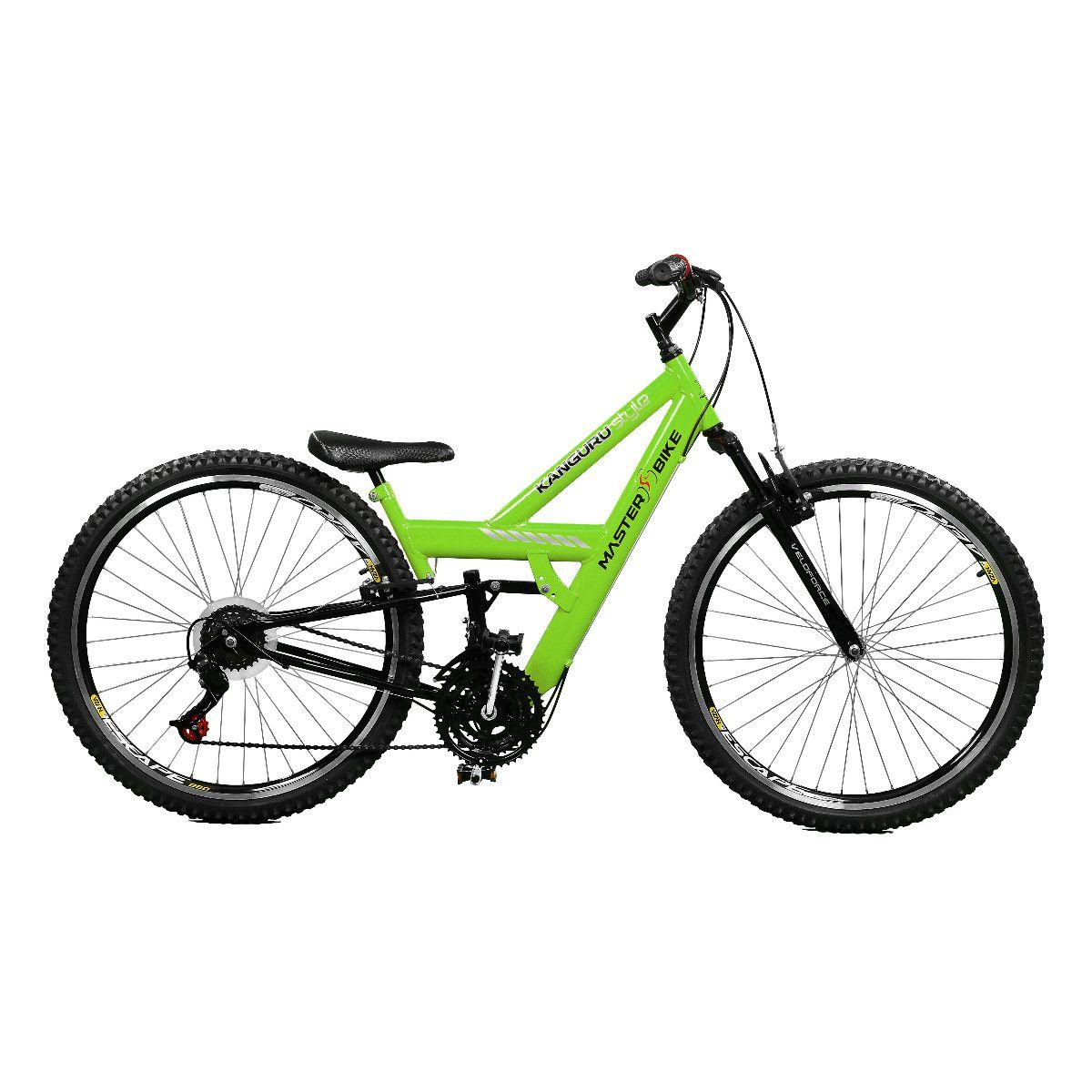 Bicicleta Master Bike Aro 26 Kanguru Rebaixada 21 V A-36 Verde/Preto