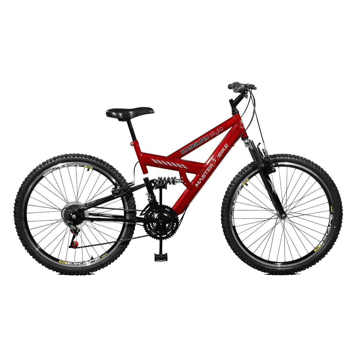 Bicicleta Master Bike Aro 26 Kanguru Style 21 Marchas A-36 V-Brake Vermelho/Preto
