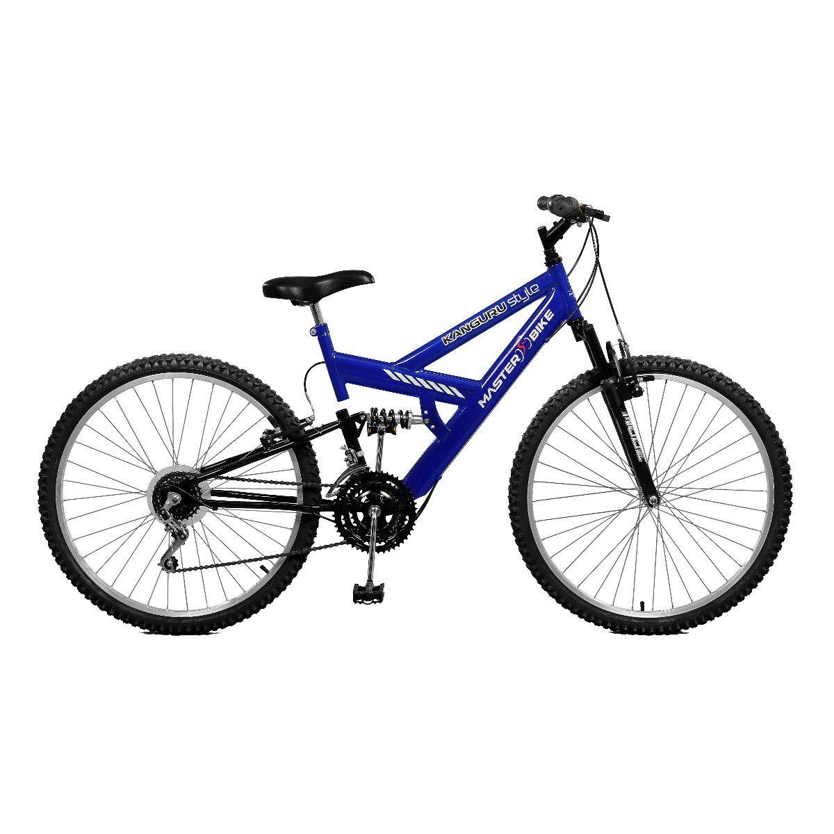 Bicicleta Master Bike Aro 26 Kanguru Style 21 Marchas V-Brake Azul/Preto