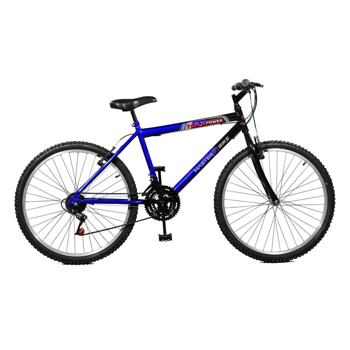 Bicicleta Master Bike Aro 26 Max Power 18 Marchas V-Brake Azul/Preto