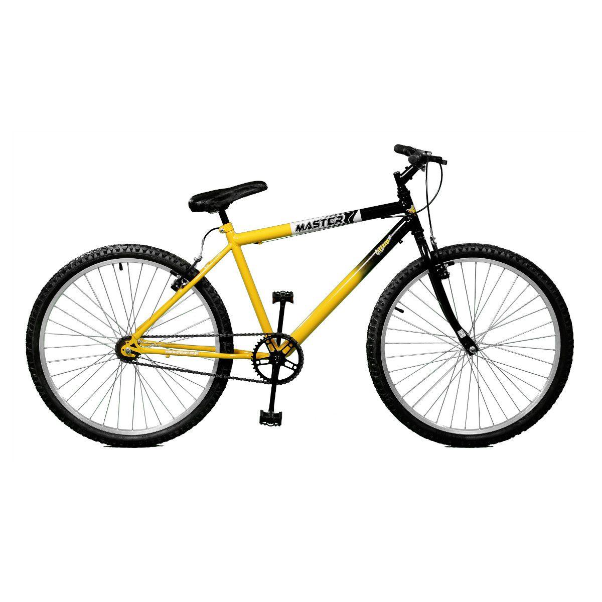 Bicicleta Master Bike Aro 26 Pop Freio V-Brake Amarelo/Preto