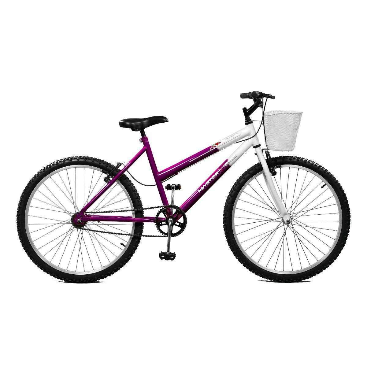 Bicicleta Master Bike Aro 26 Serena Freio V-Brake Violeta/Branco