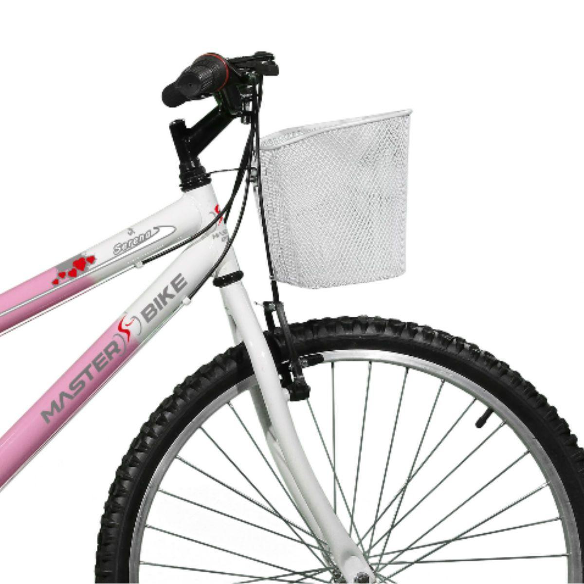 Bicicleta Master Bike Aro 26 Serena Plus 21 Marchas V-Brake Rosa/Branco
