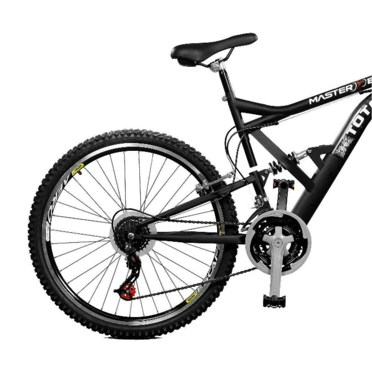 Bicicleta Master Bike Aro 26 Totem Suspensão Full Dupla Alta A-36 Preto