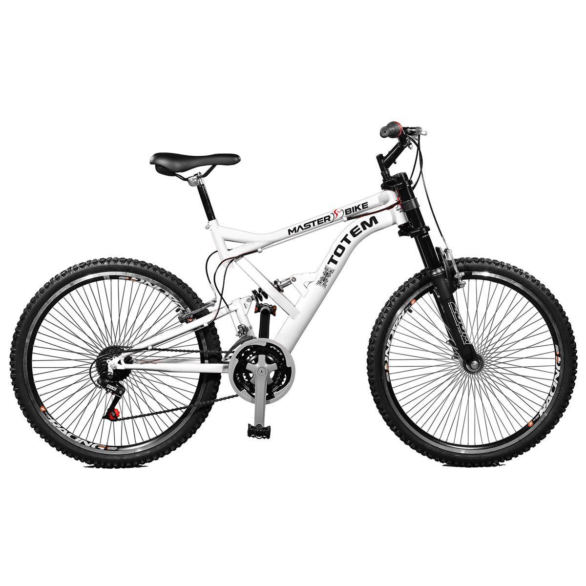 Bicicleta Master Bike Aro 26 Totem Suspensão Full Dupla Alta A-72 Branco