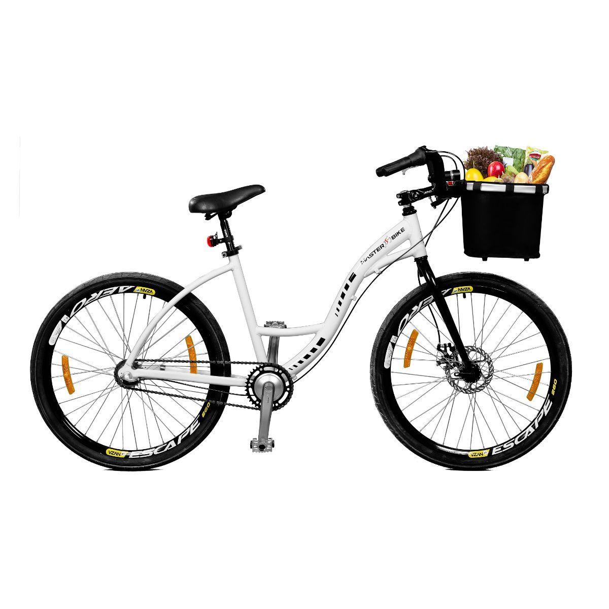 Bicicleta Master Bike Aro 26 Urbis Freio à Disco 3 V Nexus c/ Cesta Branco