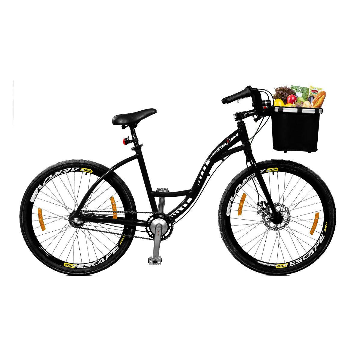 Bicicleta Master Bike Aro 26 Urbis Freio à Disco 3 V Nexus c/ Cesta Preto