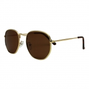 Óculos De Sol Díspar D2499 Hexagonal/Lentes Polarizadas - Dourado/Marrom