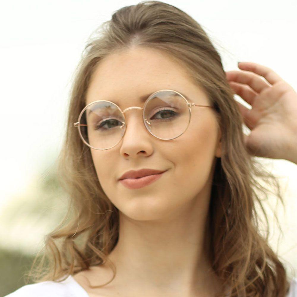 Armação para Óculos Díspar D1646 Redondo Dourado