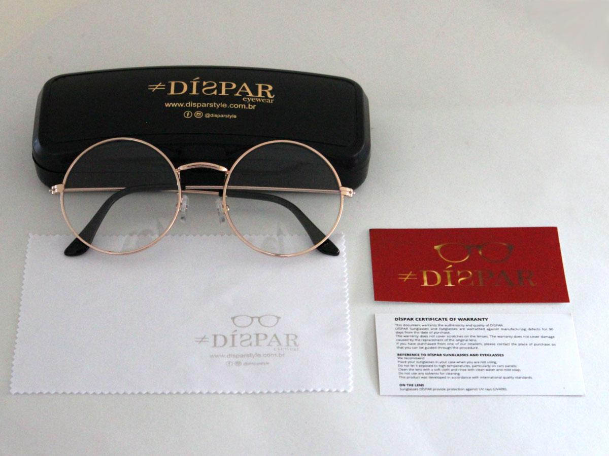 Armação para Óculos Díspar D1646 Redondo Grande Dourado