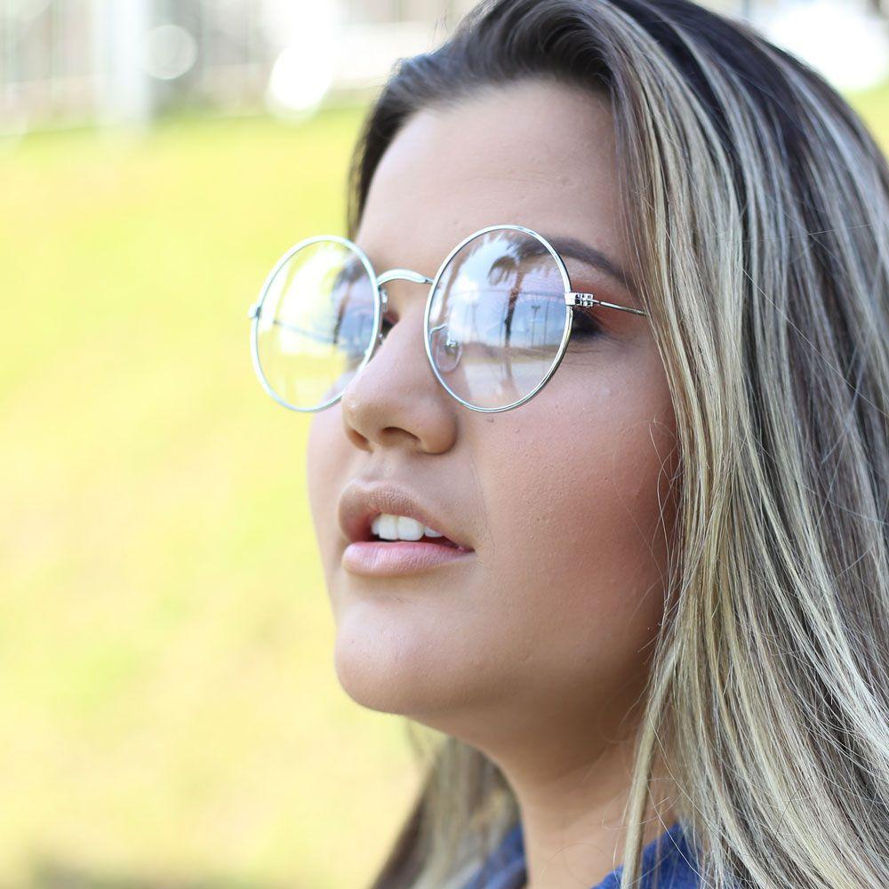 Armação para Óculos Díspar D1646 Redondo Grande Prata