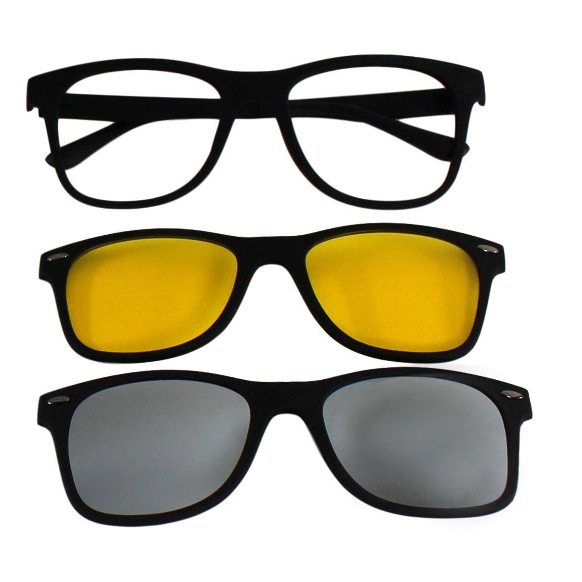 Armação para Óculos Díspar D1965 Clip On 2 Lentes - Prata - Díspar Style ... c034606d93