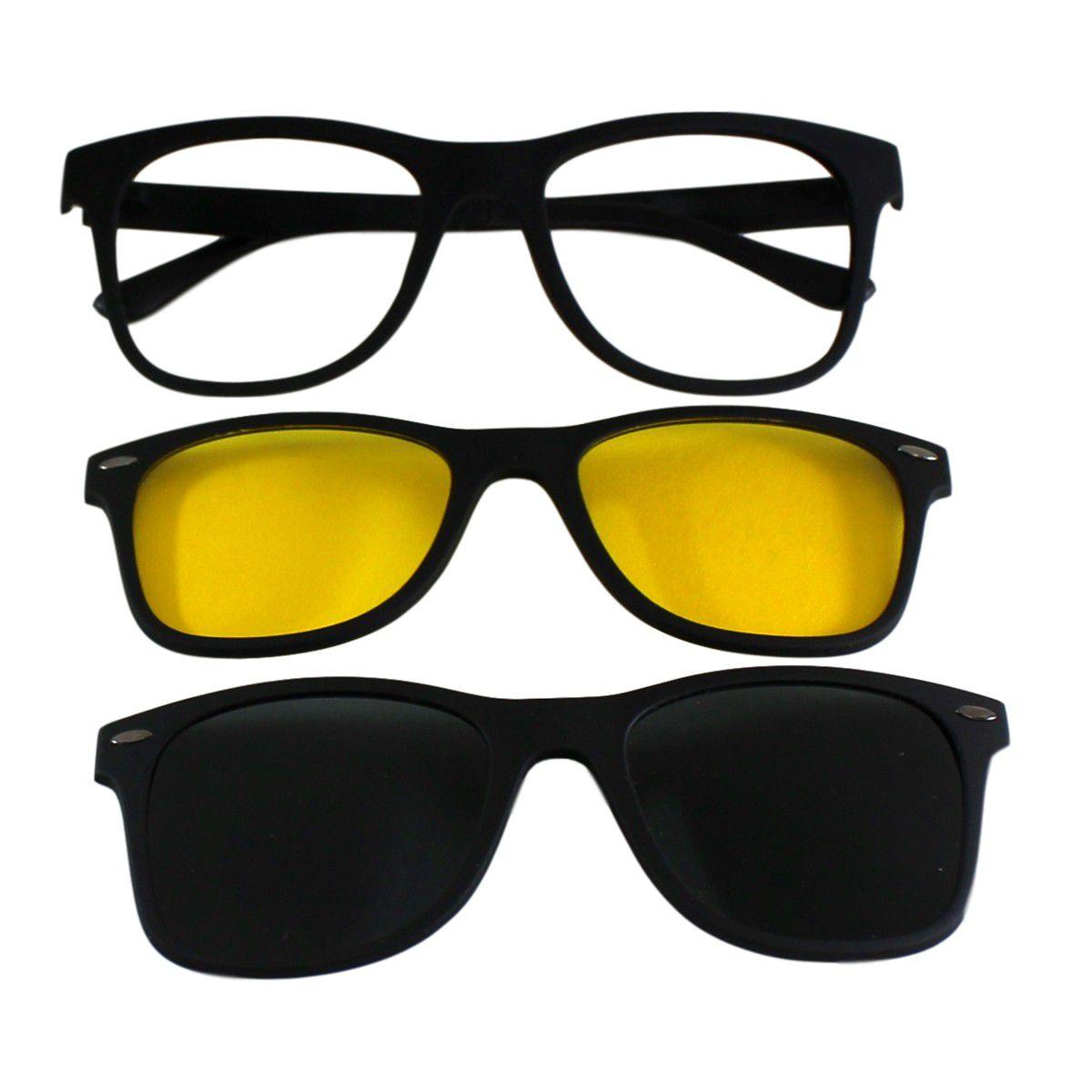 d69793d5325b9 Armação para Óculos Díspar D1965 Clip On 2 Lentes - Preto - Díspar Style ...
