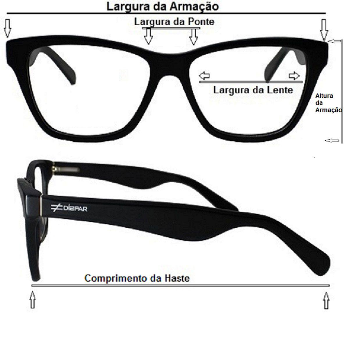 Armação para Óculos Díspar D2249 Clip On 2 Lentes - Preto Fosco