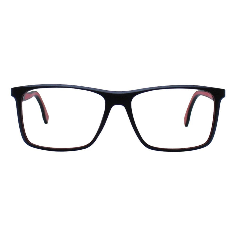 Armação para Óculos Díspar D2432 Retangular - Preto/Vermelho
