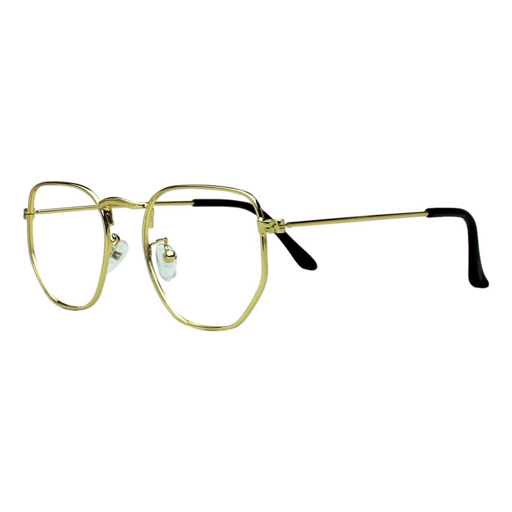 Armação para Óculos Díspar D2493 Hegaxonal - Dourado
