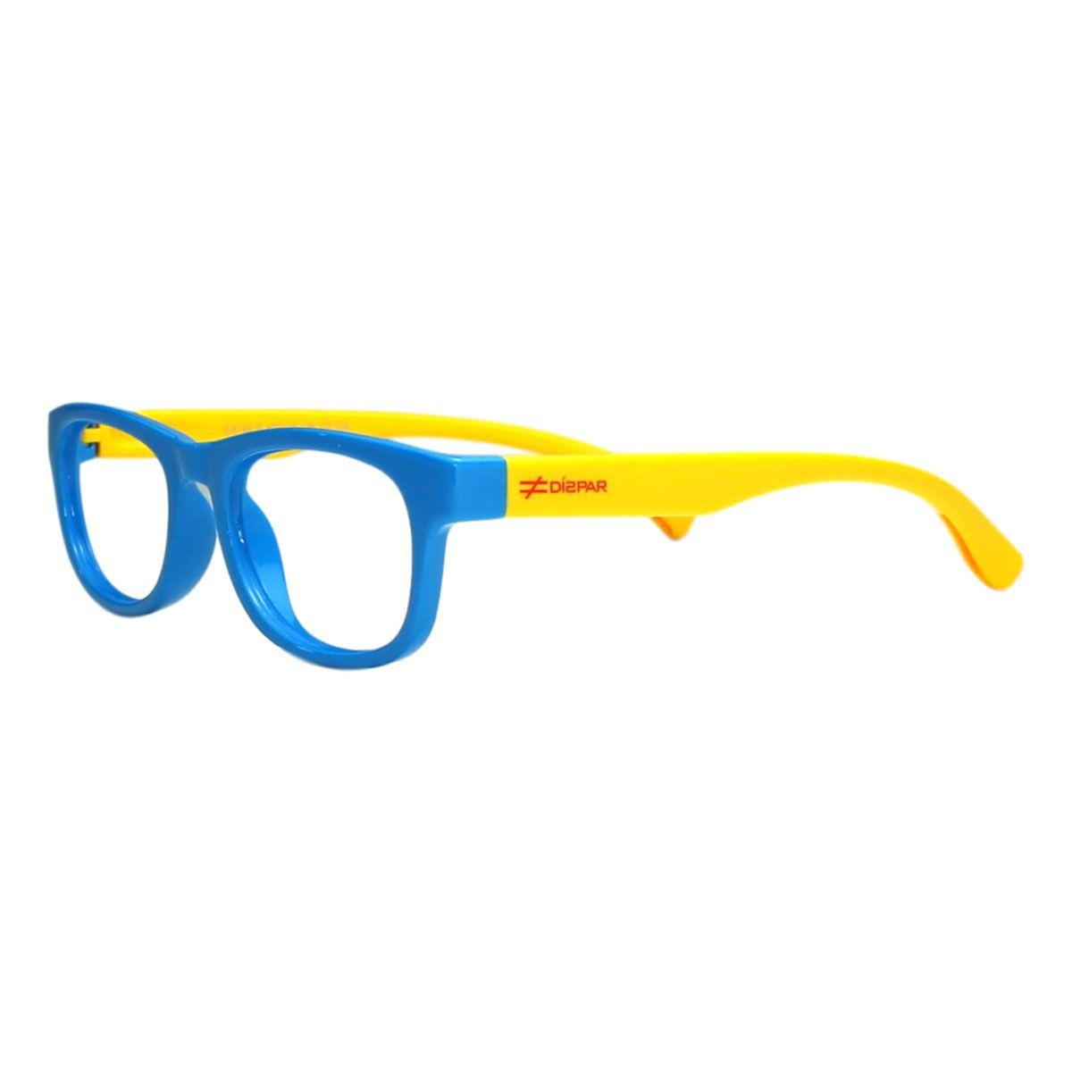 Armação para Óculos Díspar ID2102 Infantil Flexível - Azul/Amarelo Idade 6 a 9 anos
