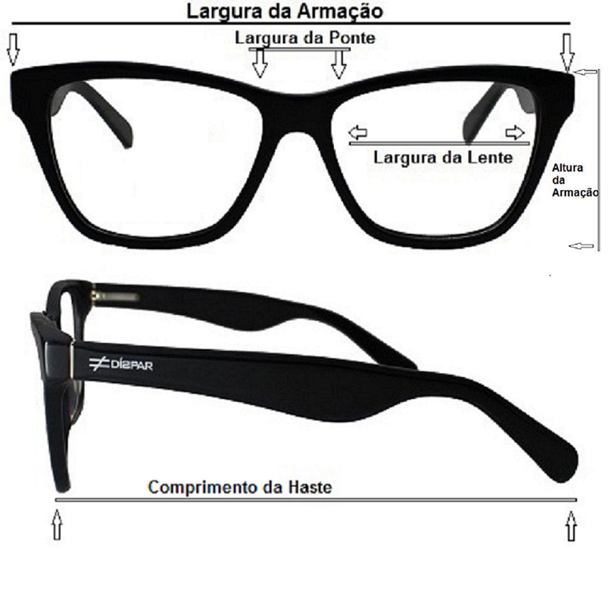 Armação para Óculos Díspar D1642 Preto Rajado
