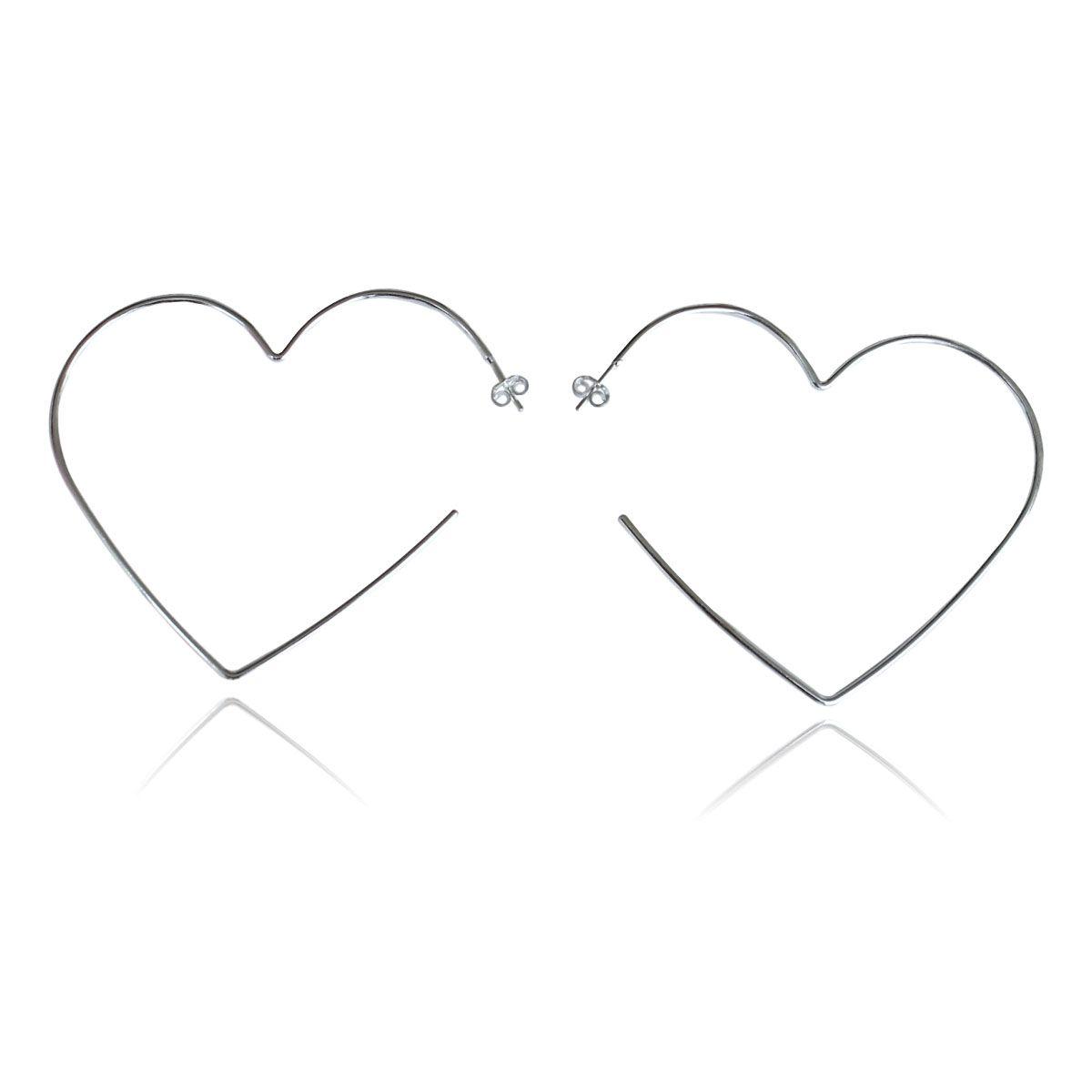 Brinco Díspar 2164 Coração Médio - Prata