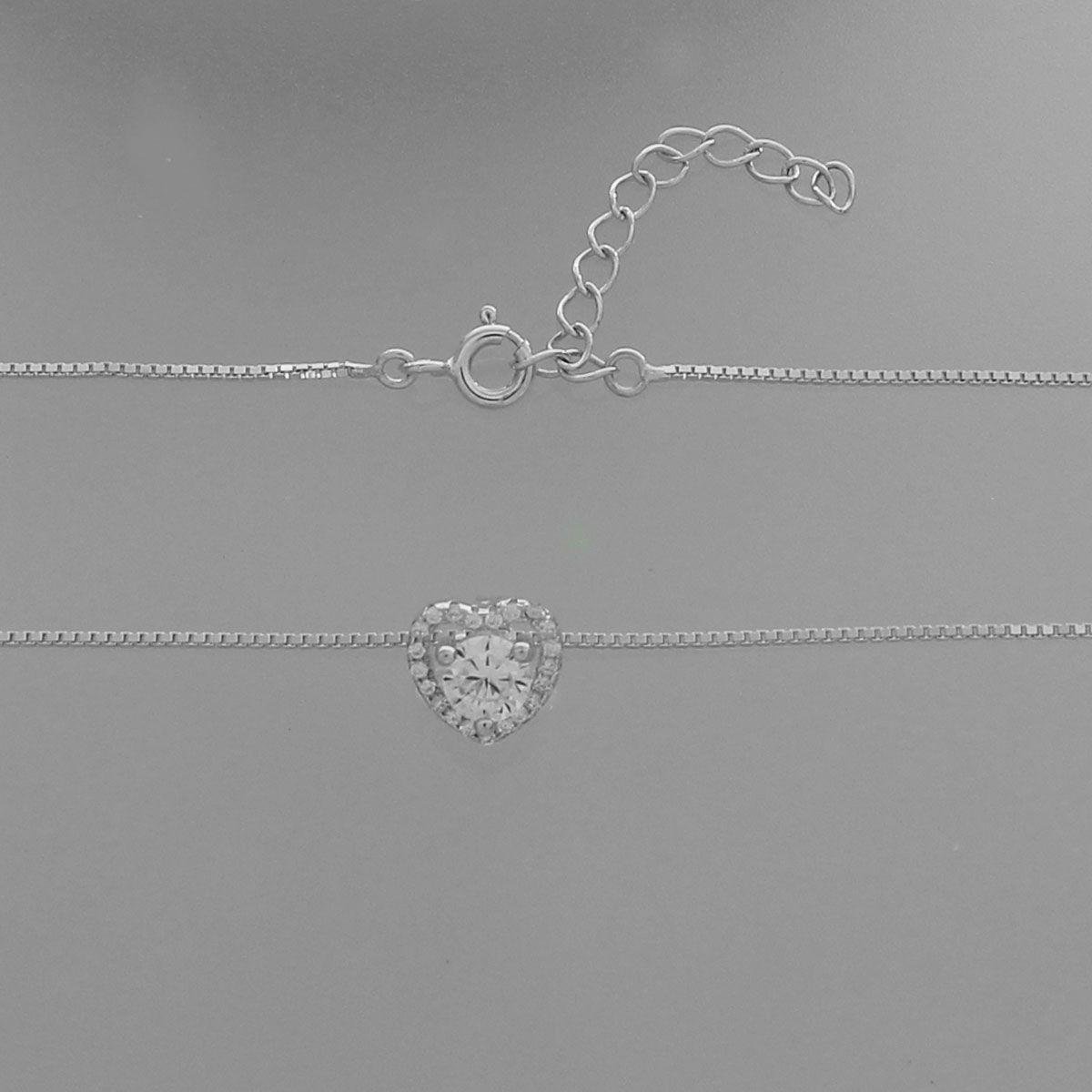Colar Díspar 2184 Coração Zircônia e MIcrozircônias 45 cm - Prata