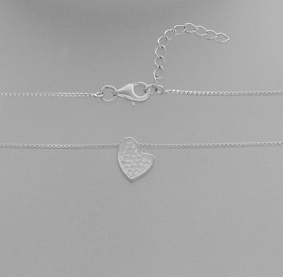 Colar Díspar 2188 Coração Microzircônias 40 cm - Prata