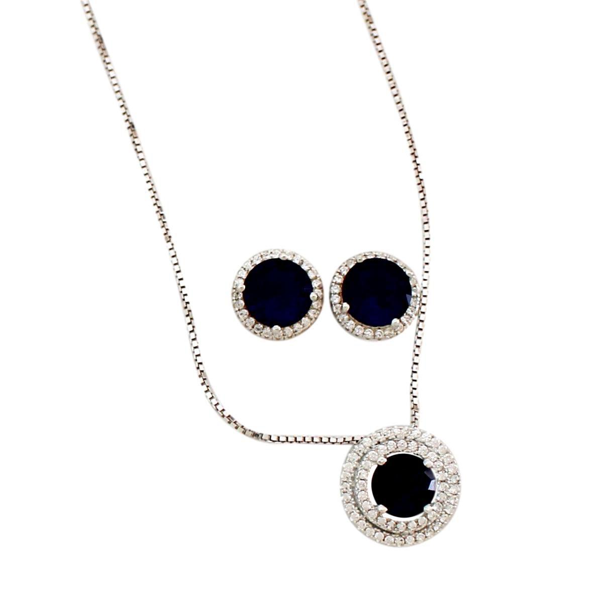 Conjunto Díspar 2178  Cristal Azul Microzircônias - Azul