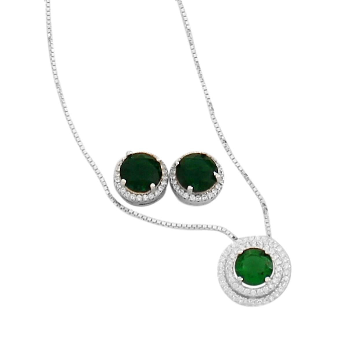 Conjunto Díspar 2180 Cristal Verde Microrzircônias - Verde