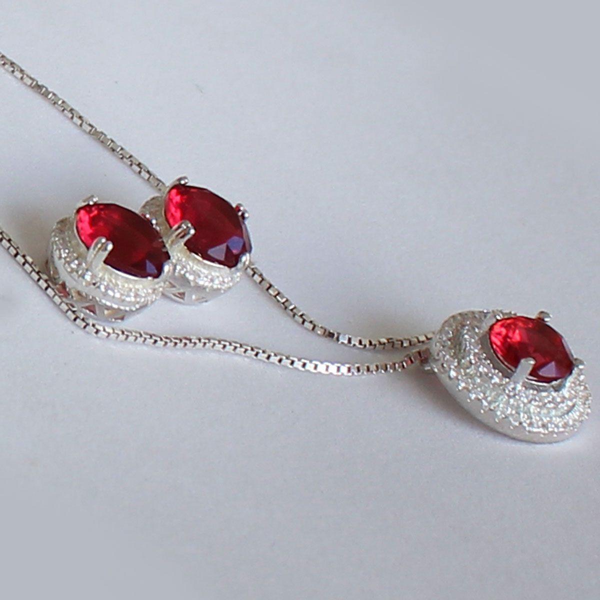 Conjunto Díspar 2181 Cristal Vermelho Mircrozircônias - Vermelho