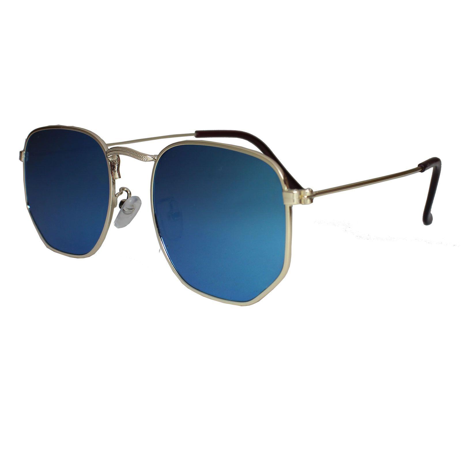 Óculos De Sol Díspar D1625 Hexagonal Lentes Retas Azul