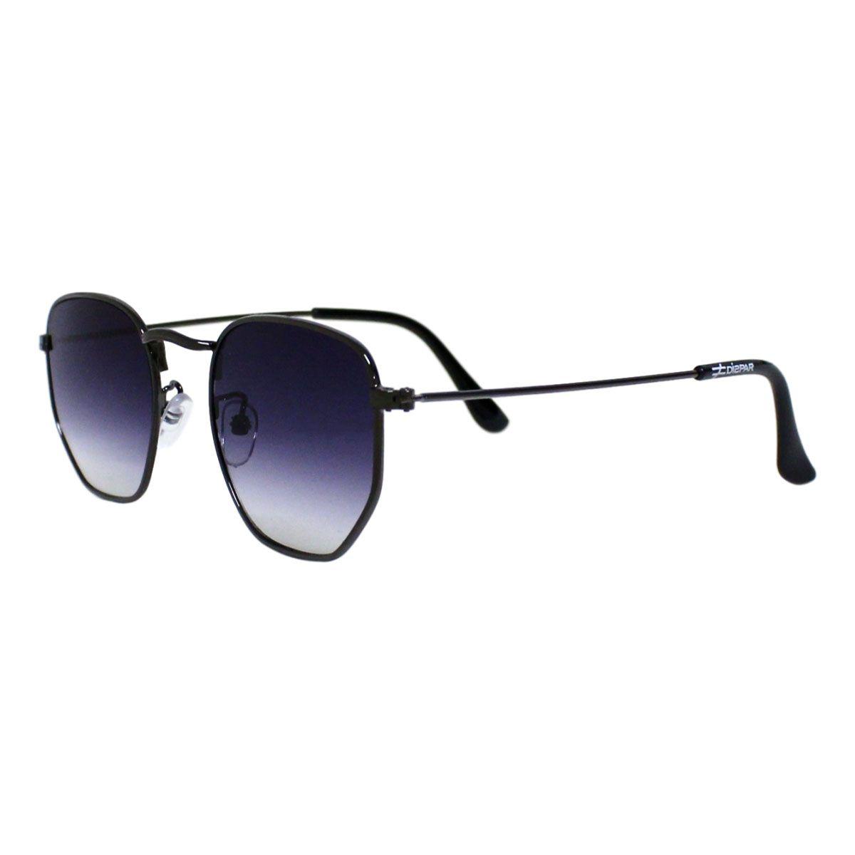 Óculos De Sol Díspar D1625 Hexagonal Lentes Retas Chumbo