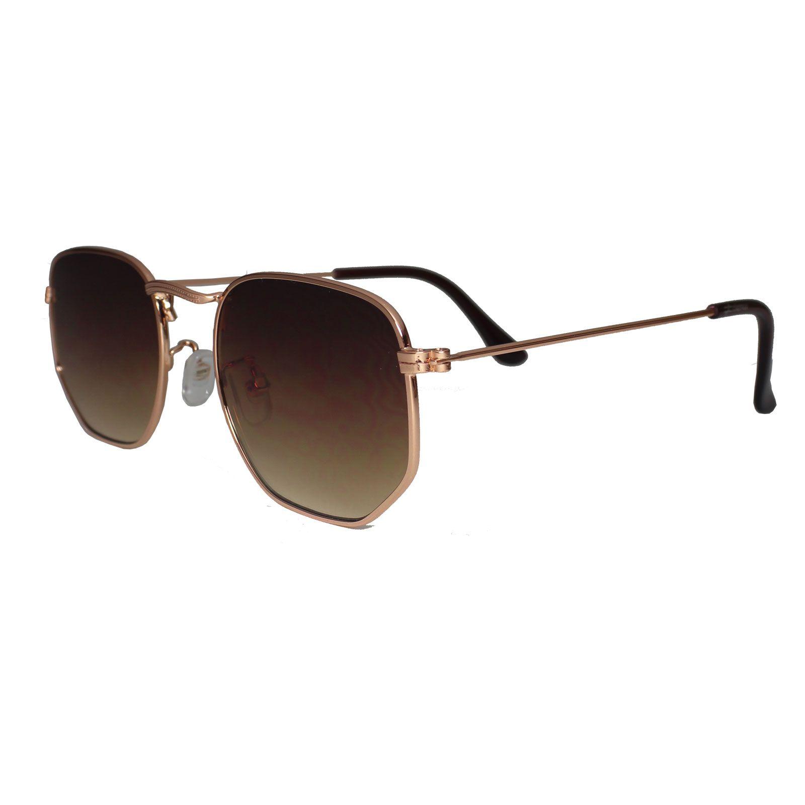 Óculos De Sol Díspar D1625 Hexagonal Lentes Retas Dourado