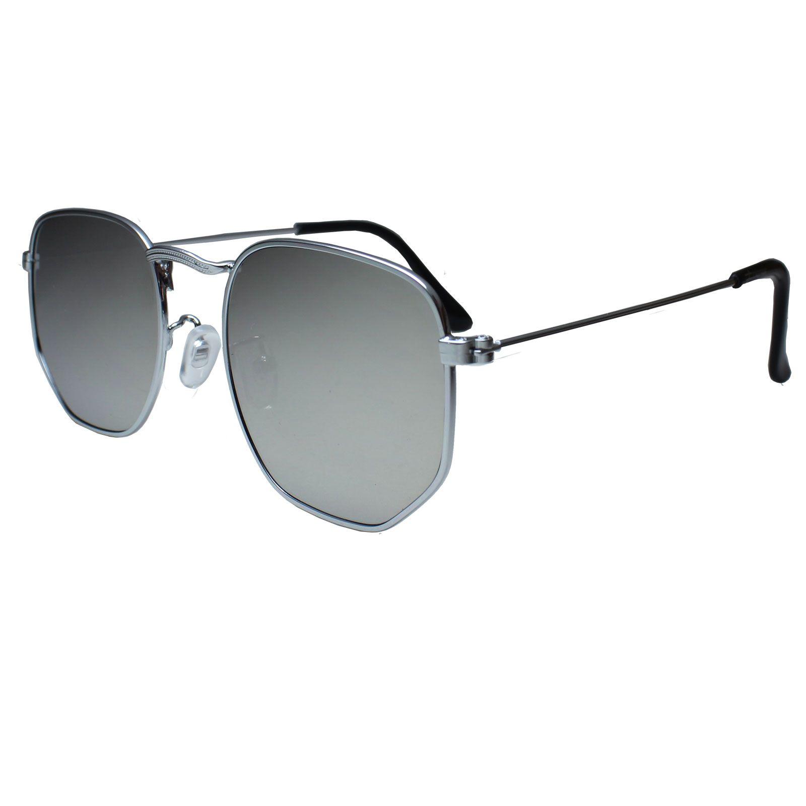 Óculos De Sol Díspar D1625 Hexagonal Lentes Retas Prata