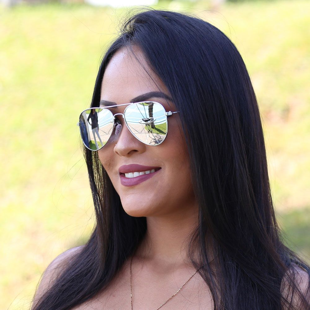 Óculos De Sol Díspar D1628 Lentes Flat Retas Espelhadas Prata