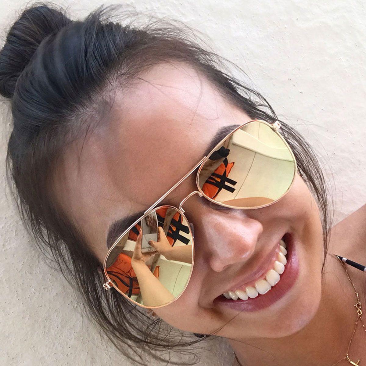 Óculos de Sol Díspar D1628 Lentes Flat Retas Espelhadas Dourado