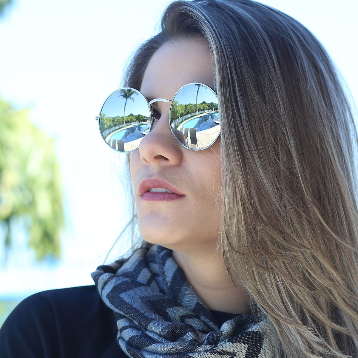 Óculos de Sol Díspar D1653 Lentes Espelhadas Redondo Grande Prata