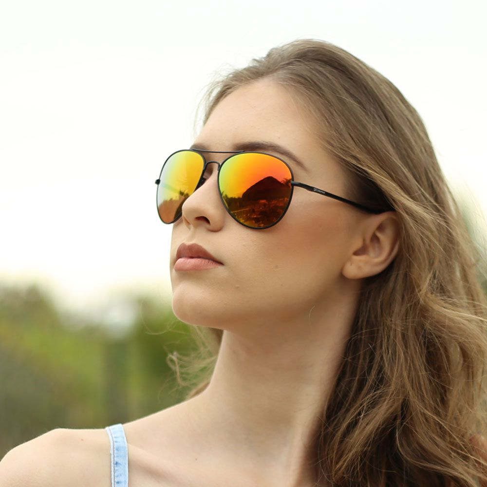 Óculos De Sol Díspar D1656  Aviador Lentes Espelhadas Preto