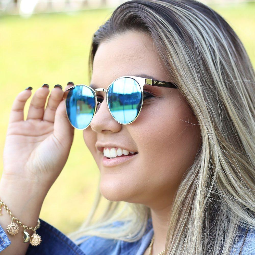 Óculos de Sol Díspar D1845 Lentes Flat Espelhadas Azul
