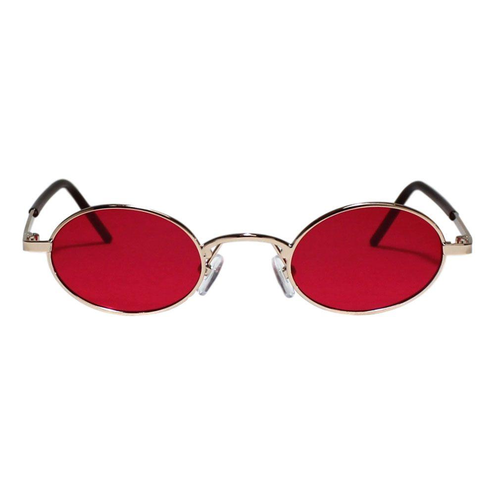 Óculos de Sol Díspar D1978 Oval Skinny - Dourado/Vermelho
