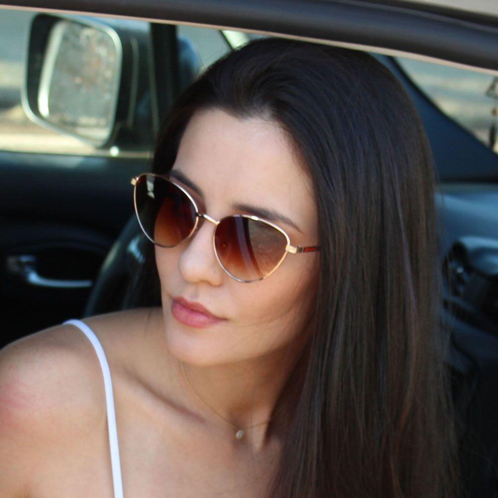 Óculos De Sol Díspar D2124 Gatinho - Dourado