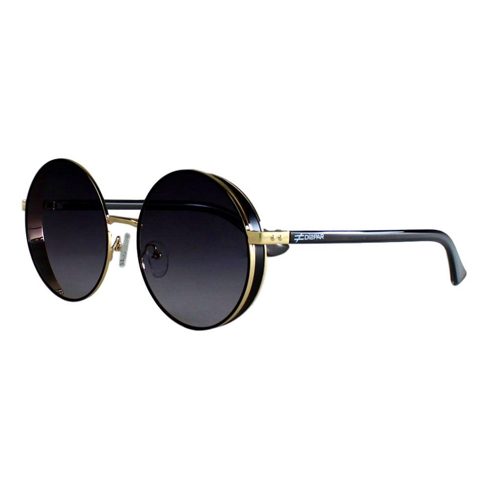 Óculos De Sol Díspar D2256 Vintage Proteção Lateral - Preto/Dourado