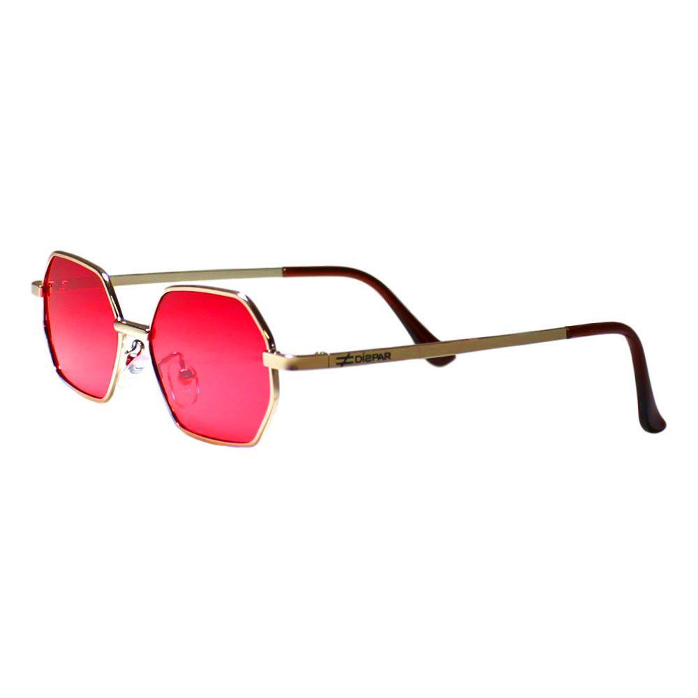Óculos de Sol Díspar D2268 Octagonal Skinny - Dourado/Vermelho