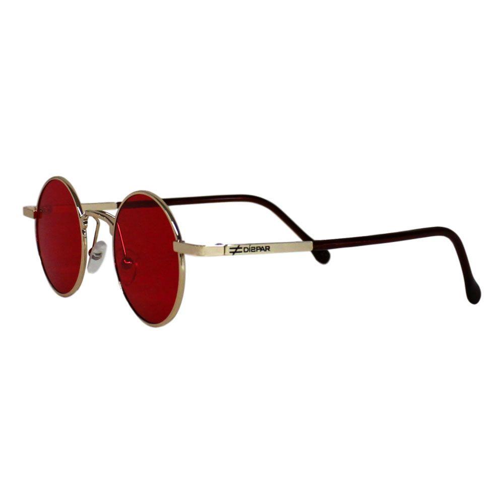 Óculos de Sol Díspar D2269 Redondo Skinny - Dourado/Vermelho