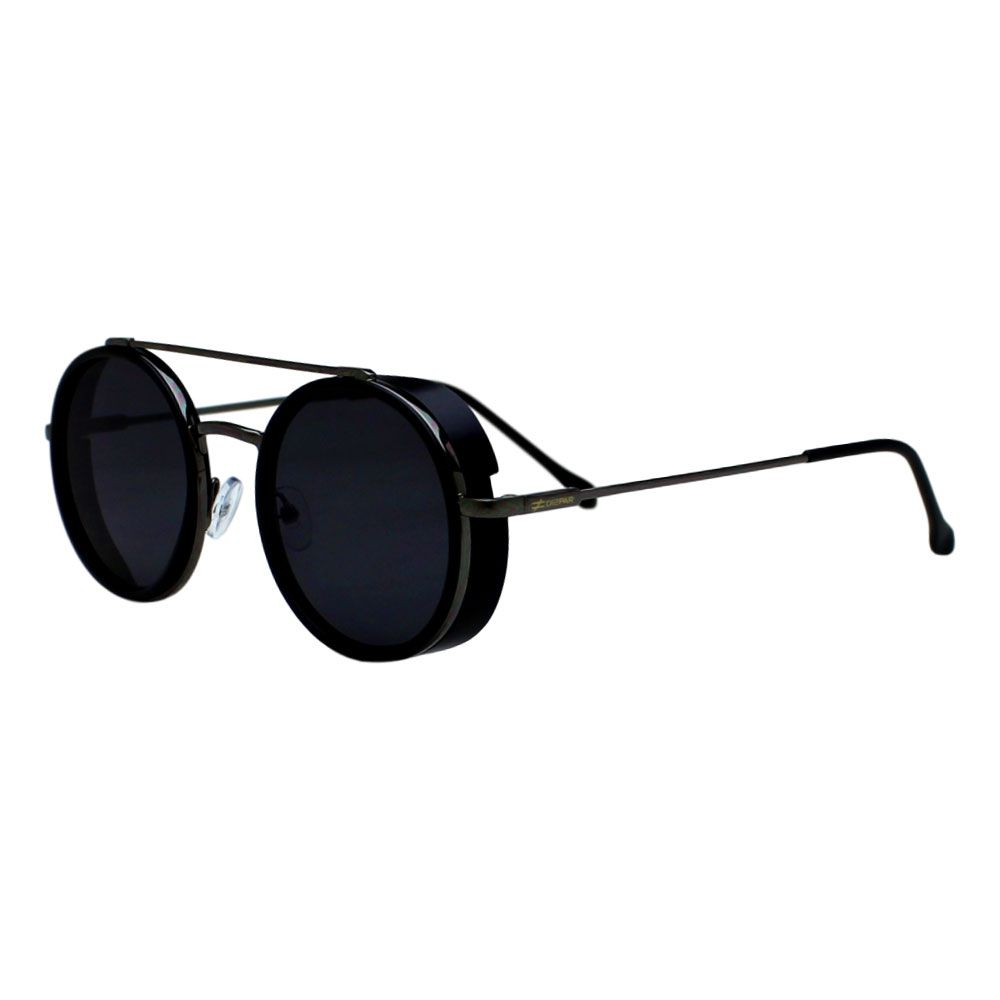 Óculos De Sol Díspar D2274 Redondo Vintage Proteção Lateral - Chumbo