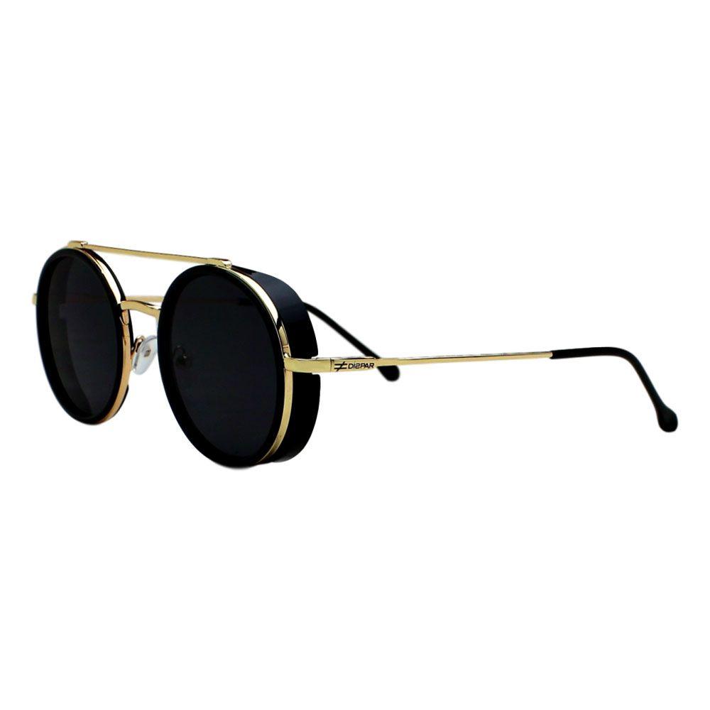 Óculos De Sol Díspar D2274 Redondo Vintage Proteção Lateral - Dourado/Preto